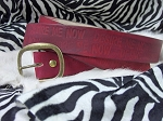 Blood Red Stamped Leather Belt